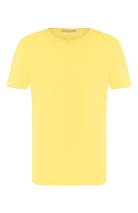 Мужская льняная футболка DANIELE FIESOLI желтого цвета, арт. DF 1235 | Фото 1