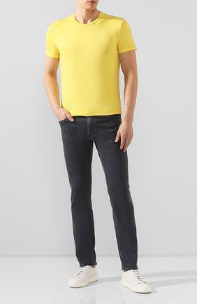 Мужская льняная футболка DANIELE FIESOLI желтого цвета, арт. DF 1235 | Фото 2