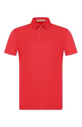 Мужское льняное поло DANIELE FIESOLI красного цвета, арт. DF 1239 | Фото 1