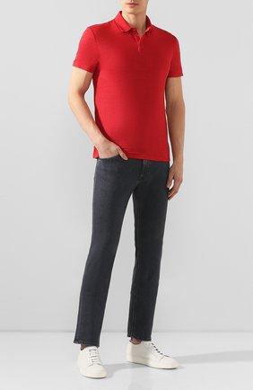 Мужское льняное поло DANIELE FIESOLI красного цвета, арт. DF 1239 | Фото 2