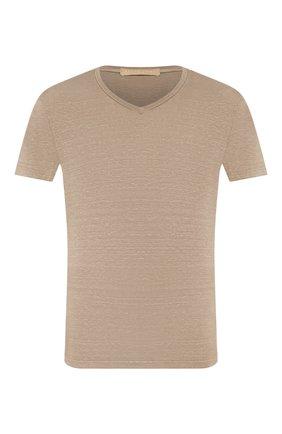 Мужская льняная футболка DANIELE FIESOLI бежевого цвета, арт. DF 1236 | Фото 1