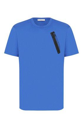 Мужская хлопковая футболка GIVENCHY синего цвета, арт. BM70WE3002 | Фото 1
