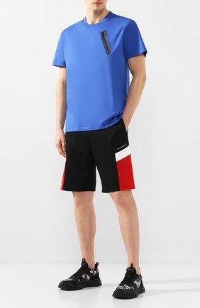 Мужская хлопковая футболка GIVENCHY синего цвета, арт. BM70WE3002 | Фото 2