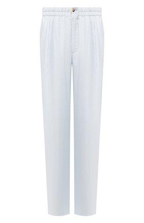 Мужской шелковые брюки GIORGIO ARMANI голубого цвета, арт. 9SGPP05M/T00Q7 | Фото 1