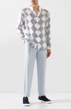 Мужской шелковые брюки GIORGIO ARMANI голубого цвета, арт. 9SGPP05M/T00Q7 | Фото 2