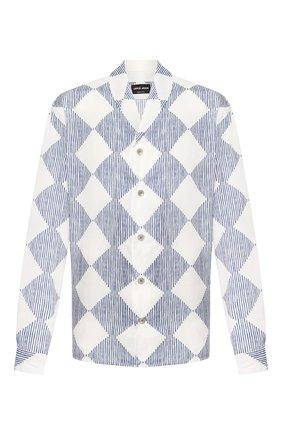 Мужская рубашка GIORGIO ARMANI голубого цвета, арт. 0SGCCZ27/TZ537 | Фото 1 (Длина (для топов): Стандартные; Рукава: Длинные; Случай: Повседневный)