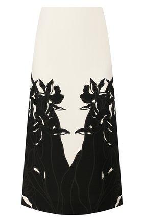 Женская юбка из смеси шерсти и шелка VALENTINO черно-белого цвета, арт. TB0RA6055HQ | Фото 1