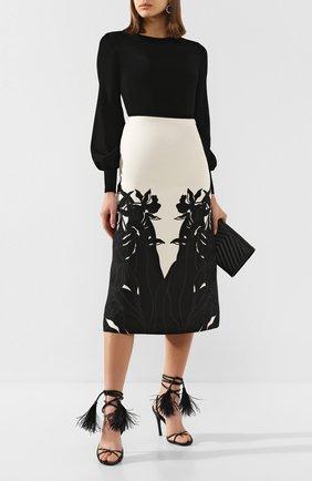 Женская юбка из смеси шерсти и шелка VALENTINO черно-белого цвета, арт. TB0RA6055HQ | Фото 2