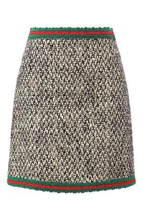 Женская шерстяная юбка GUCCI черно-белого цвета, арт. 610066/ZACCK   Фото 1