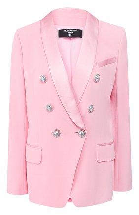 Женский жакет из вискозы BALMAIN розового цвета, арт. TF07471/V089 | Фото 1 (Рукава: Длинные; Длина (для топов): Стандартные; Случай: Формальный; Материал подклада: Вискоза; Женское Кросс-КТ: Жакет-одежда; 1-2-бортные: Двубортные; Материал внешний: Вискоза)