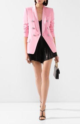 Женский жакет из вискозы BALMAIN розового цвета, арт. TF07471/V089 | Фото 2 (Рукава: Длинные; Длина (для топов): Стандартные; Случай: Формальный; Материал подклада: Вискоза; Женское Кросс-КТ: Жакет-одежда; 1-2-бортные: Двубортные; Материал внешний: Вискоза)