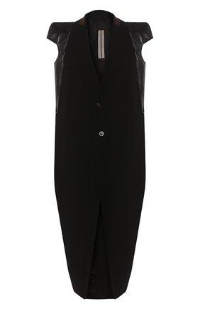 Женское пальто из смеси шерсти и вискозы RICK OWENS черного цвета, арт. R020S1953/WEHDLQ   Фото 1