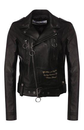 Женская кожаная куртка OFF-WHITE черного цвета, арт. 0WJG002S20LEA0011020 | Фото 1