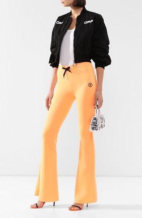 Женские хлопковые брюки FILLES A PAPA оранжевого цвета, арт. DAN L FLEECE/NE0N   Фото 2