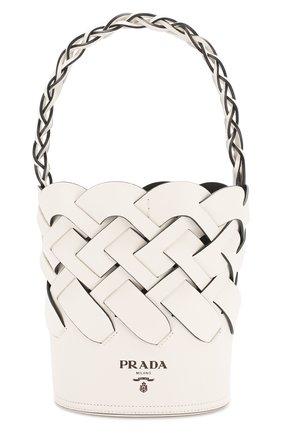 Женская cумка bucket PRADA белого цвета, арт. 1BE049-2DI4-F0G3Z-OOO | Фото 1