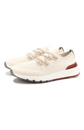 Мужские текстильные кроссовки BRUNELLO CUCINELLI бежевого цвета, арт. MZUKIS0250 | Фото 1