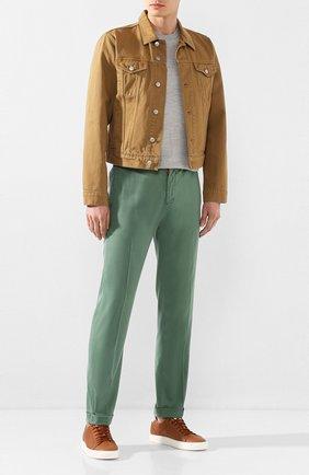Мужские кожаные кеды BRUNELLO CUCINELLI коричневого цвета, арт. MZUBTSJ233 | Фото 2