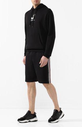 Мужские хлопковые шорты BURBERRY черного цвета, арт. 8026942 | Фото 2