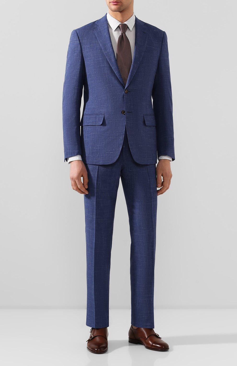 Мужская хлопковая сорочка BOSS синего цвета, арт. 50427898   Фото 2