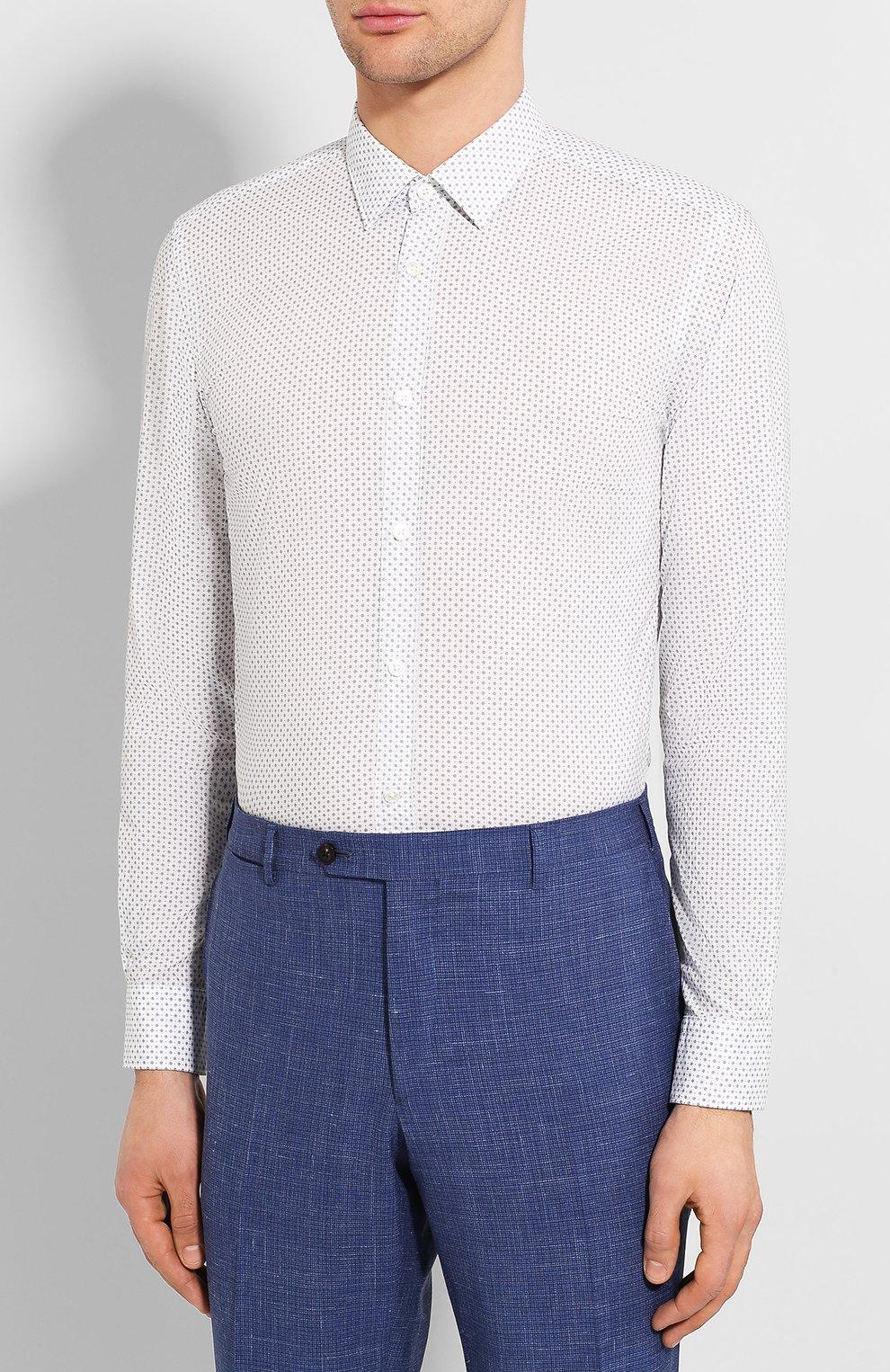 Мужская хлопковая сорочка BOSS синего цвета, арт. 50427898   Фото 3