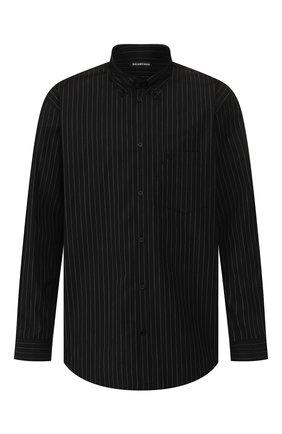 Мужская хлопковая рубашка BALENCIAGA черного цвета, арт. 621924/TIM04 | Фото 1
