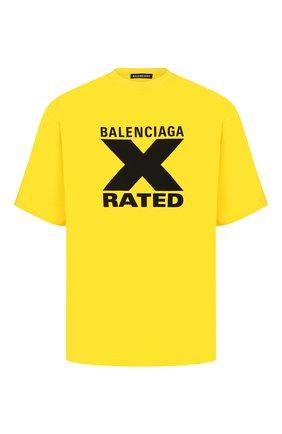 Мужская хлопковая футболка BALENCIAGA желтого цвета, арт. 620969/TIVA7 | Фото 1