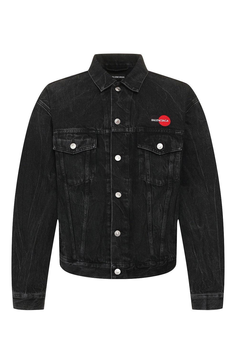 Мужская джинсовая куртка BALENCIAGA черного цвета, арт. 620730/TBP47 | Фото 1