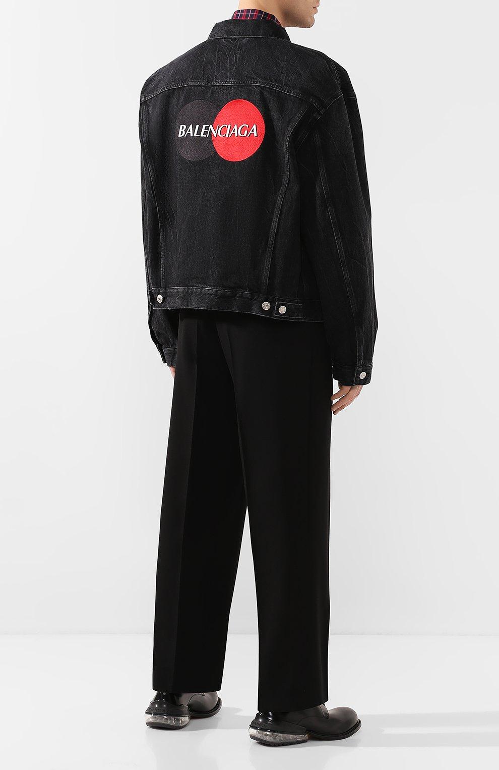 Мужская джинсовая куртка BALENCIAGA черного цвета, арт. 620730/TBP47 | Фото 2