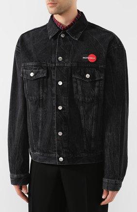 Мужская джинсовая куртка BALENCIAGA черного цвета, арт. 620730/TBP47 | Фото 3
