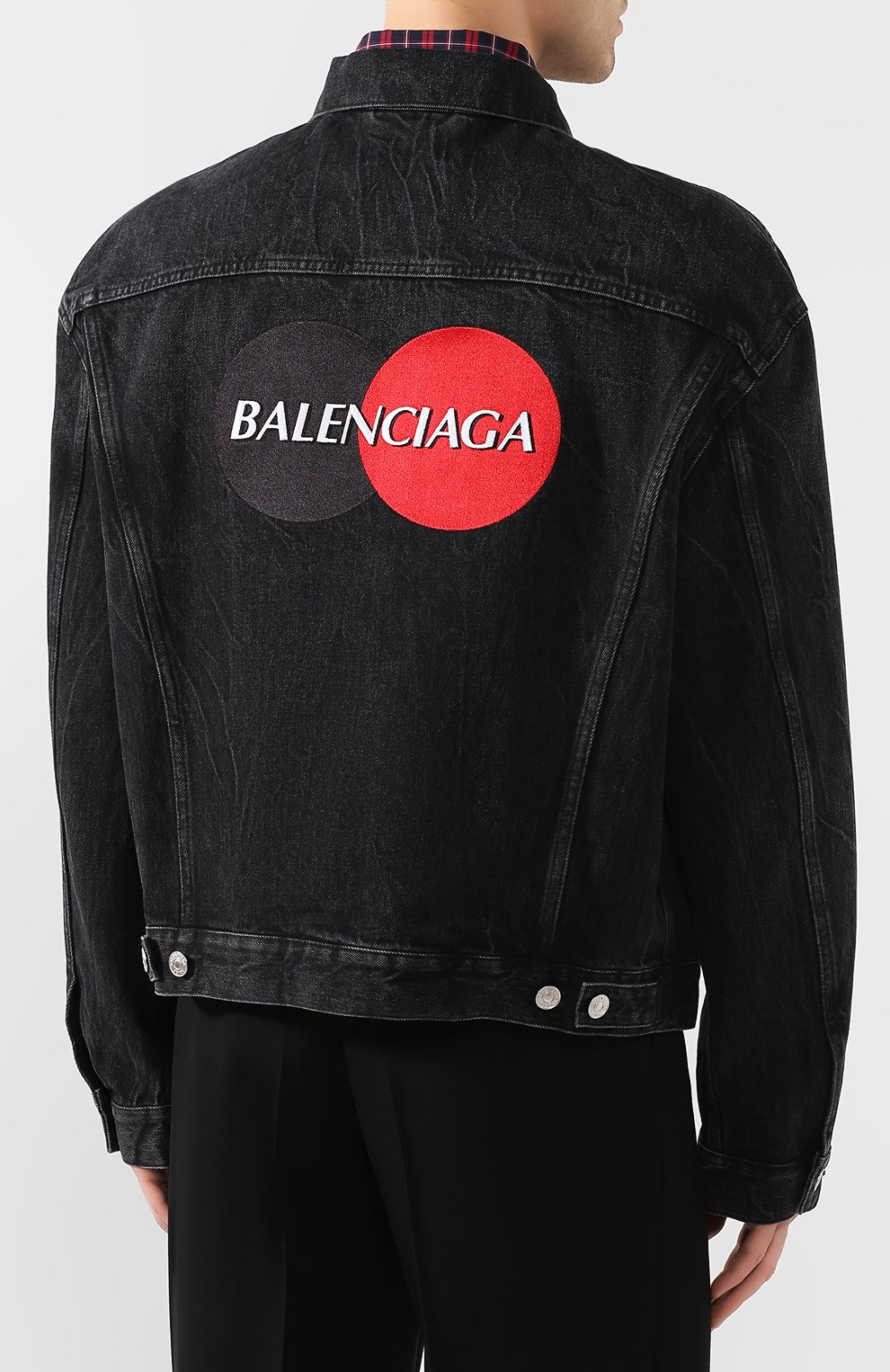 Мужская джинсовая куртка BALENCIAGA черного цвета, арт. 620730/TBP47 | Фото 4