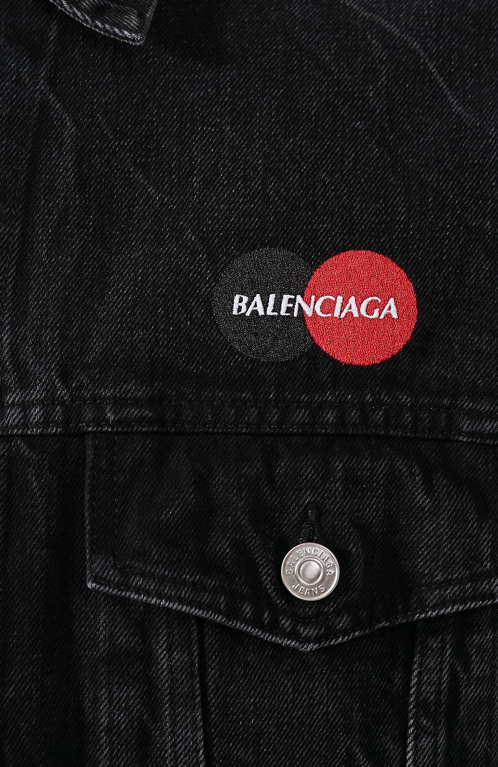 Мужская джинсовая куртка BALENCIAGA черного цвета, арт. 620730/TBP47 | Фото 5