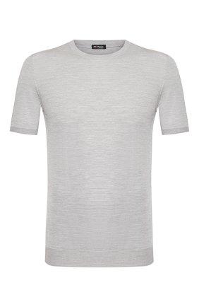 Мужской шелковый джемпер KITON светло-серого цвета, арт. UK1092 | Фото 1
