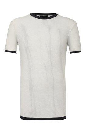 Мужская футболка из смеси хлопка и льна GIORGIO ARMANI светло-серого цвета, арт. 3HST58/SJZQZ | Фото 1
