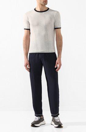 Мужская футболка из смеси хлопка и льна GIORGIO ARMANI светло-серого цвета, арт. 3HST58/SJZQZ | Фото 2