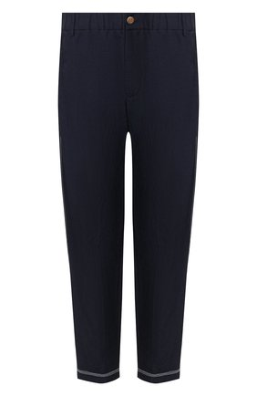 Мужской брюки из смеси вискозы и льна GIORGIO ARMANI темно-синего цвета, арт. 0SGPP0BS/T00RJ | Фото 1