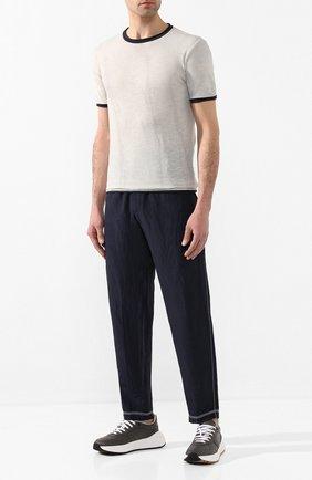 Мужской брюки из смеси вискозы и льна GIORGIO ARMANI темно-синего цвета, арт. 0SGPP0BS/T00RJ | Фото 2