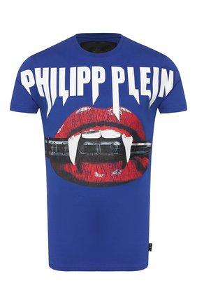 Мужская хлопковая футболка PHILIPP PLEIN темно-синего цвета, арт. P20C MTK4415 PJY002N | Фото 1