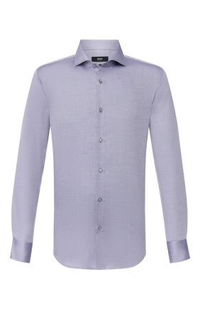 Мужская хлопковая сорочка BOSS темно-синего цвета, арт. 50428373 | Фото 1