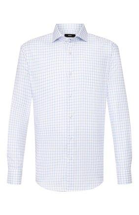 Мужская хлопковая сорочка BOSS голубого цвета, арт. 50427960 | Фото 1