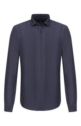 Мужская льняная рубашка BOSS темно-синего цвета, арт. 50429072 | Фото 1