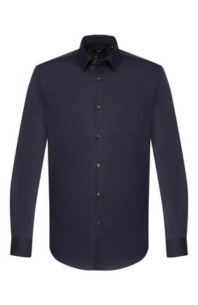Мужская хлопковая сорочка BOSS темно-синего цвета, арт. 50428470 | Фото 1