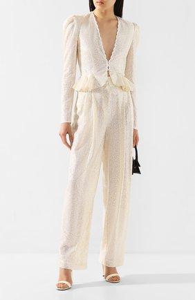 Женские брюки с пайетками PHILOSOPHY DI LORENZO SERAFINI кремвого цвета, арт. A0324/2144 | Фото 2