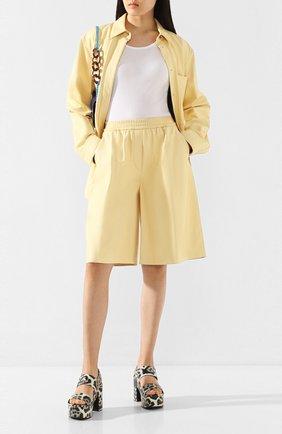 Женские кожаные шорты JOSEPH желтого цвета, арт. JF004674 | Фото 2