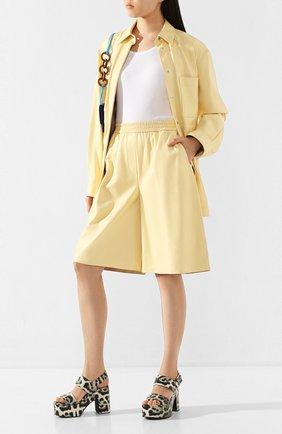 Женская кожаная рубашка JOSEPH желтого цвета, арт. JF004677 | Фото 2