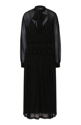 Женское шелковое платье SAINT LAURENT черного цвета, арт. 619553/Y115W | Фото 1