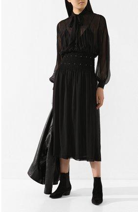 Женское шелковое платье SAINT LAURENT черного цвета, арт. 619553/Y115W | Фото 2