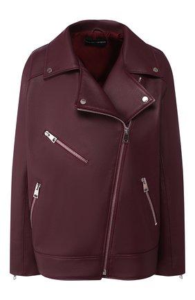 Женская кожаная куртка MASLOV бордового цвета, арт. SMW101   Фото 1