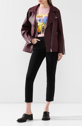 Женская кожаная куртка MASLOV бордового цвета, арт. SMW101   Фото 2