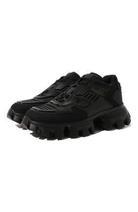 Женские текстильные кроссовки PRADA черного цвета, арт. 1E819L-3KR2-F0002-50 | Фото 1
