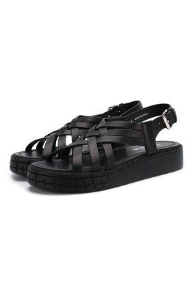 Женские кожаные сандалии PRADA черного цвета, арт. 1X957L-248-F0002-30 | Фото 1